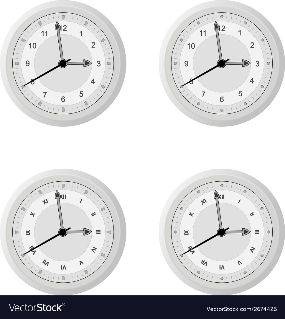 Clock dial in four variants with different design