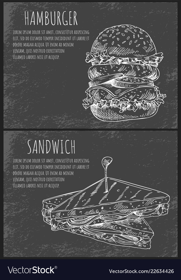 Fast food sketches hamburger and sandwich
