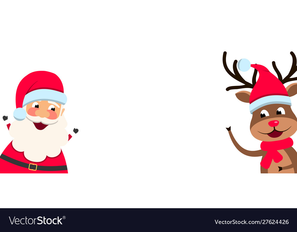 Funny santa claus and christmas deer with blank