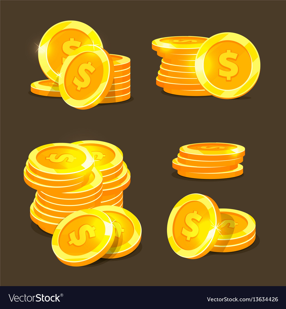 Gold coins icons golden coins stacks and