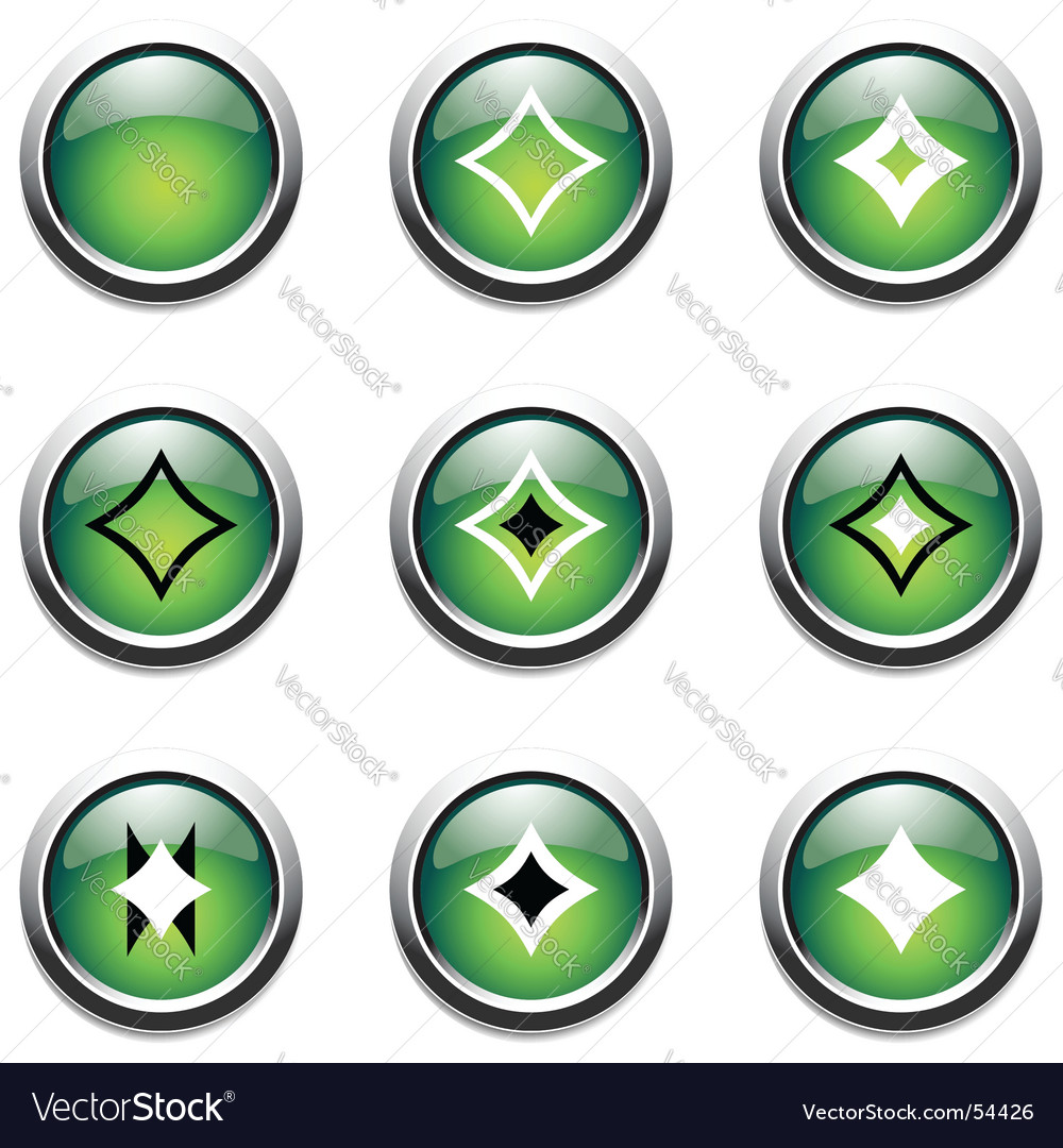 Green buttons with decoration vector image