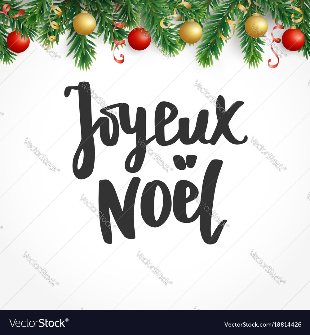 Joyeux noel text holiday greetings french quote vector image m4hsunfo