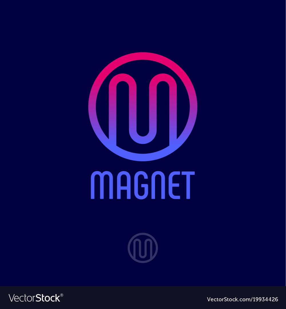 M logo monogram red blue circle