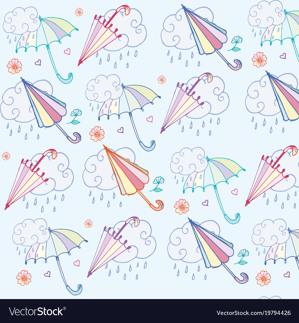 Pattern umbrella and cloud with rain