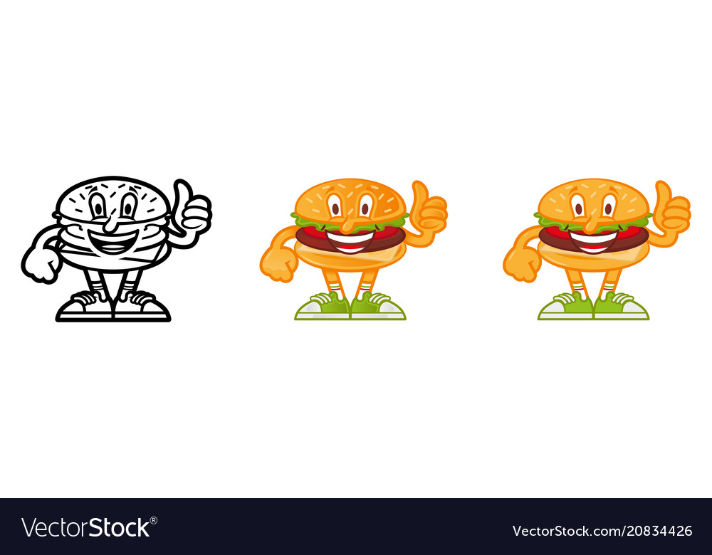 Set cartoon burger
