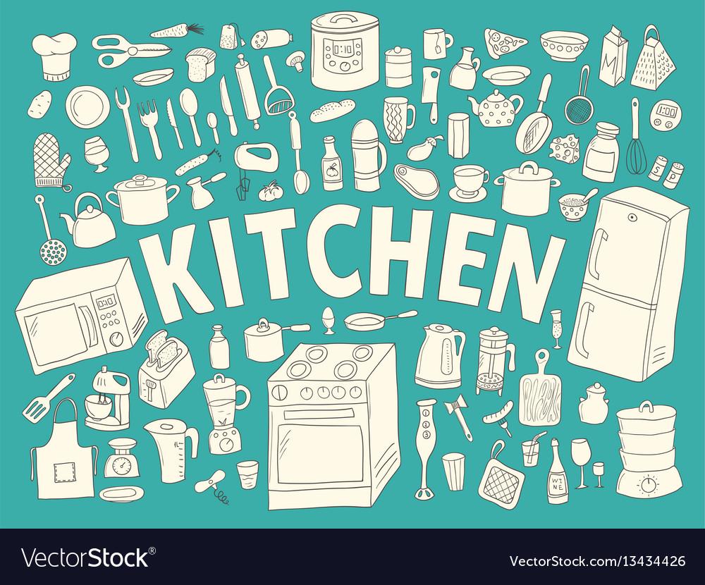 Set hand drawn icons kitchen