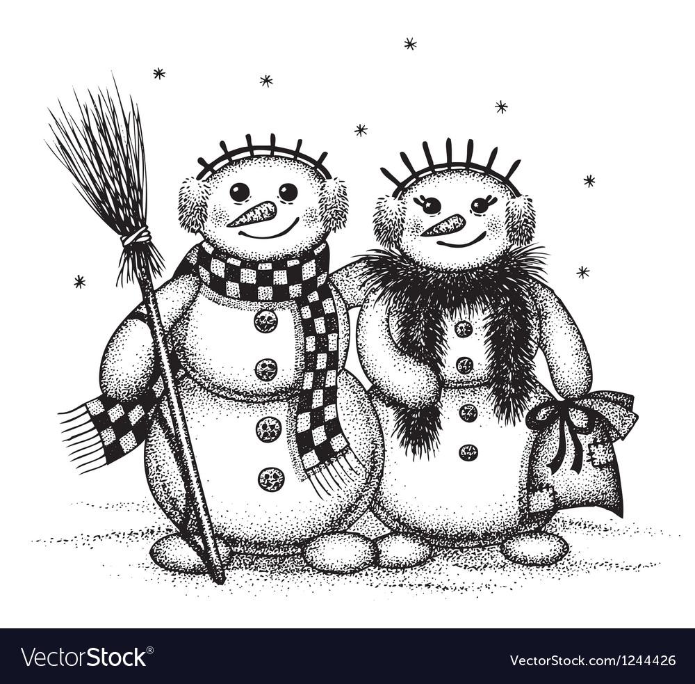 Snowmen boy and girl