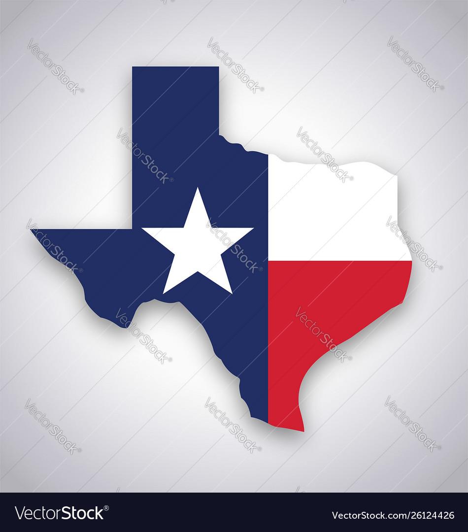 Texas tx state flag map