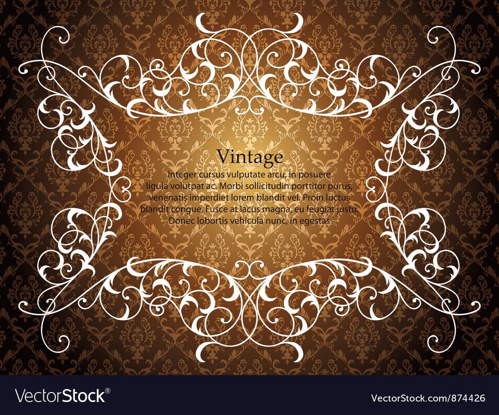 Vintage floral frame with damask background