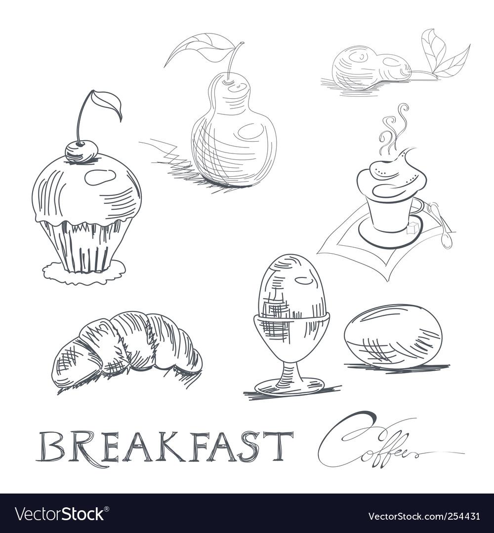Breakfast sketch vector image