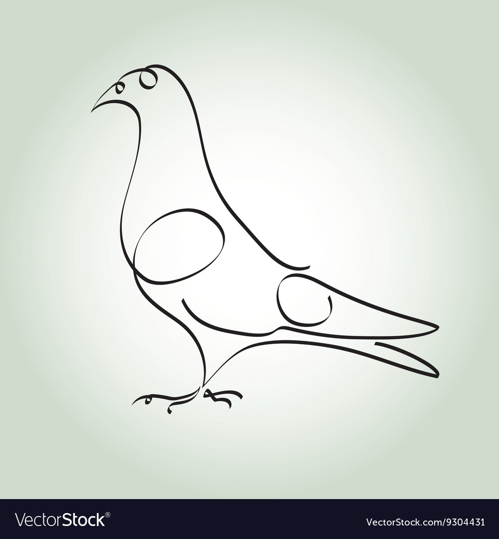 Dove in minimal line style vector image