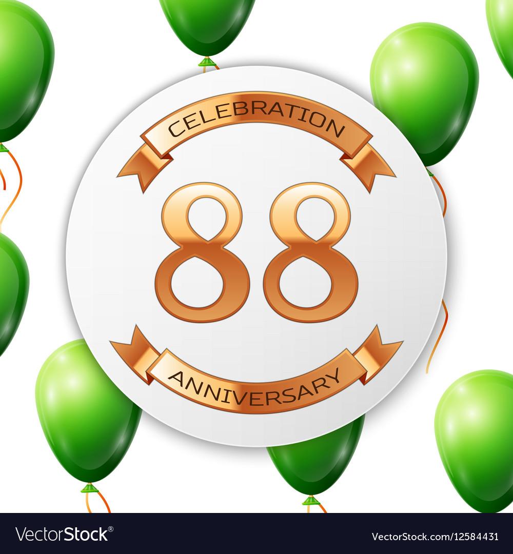 Golden number eighty eight years anniversary vector image