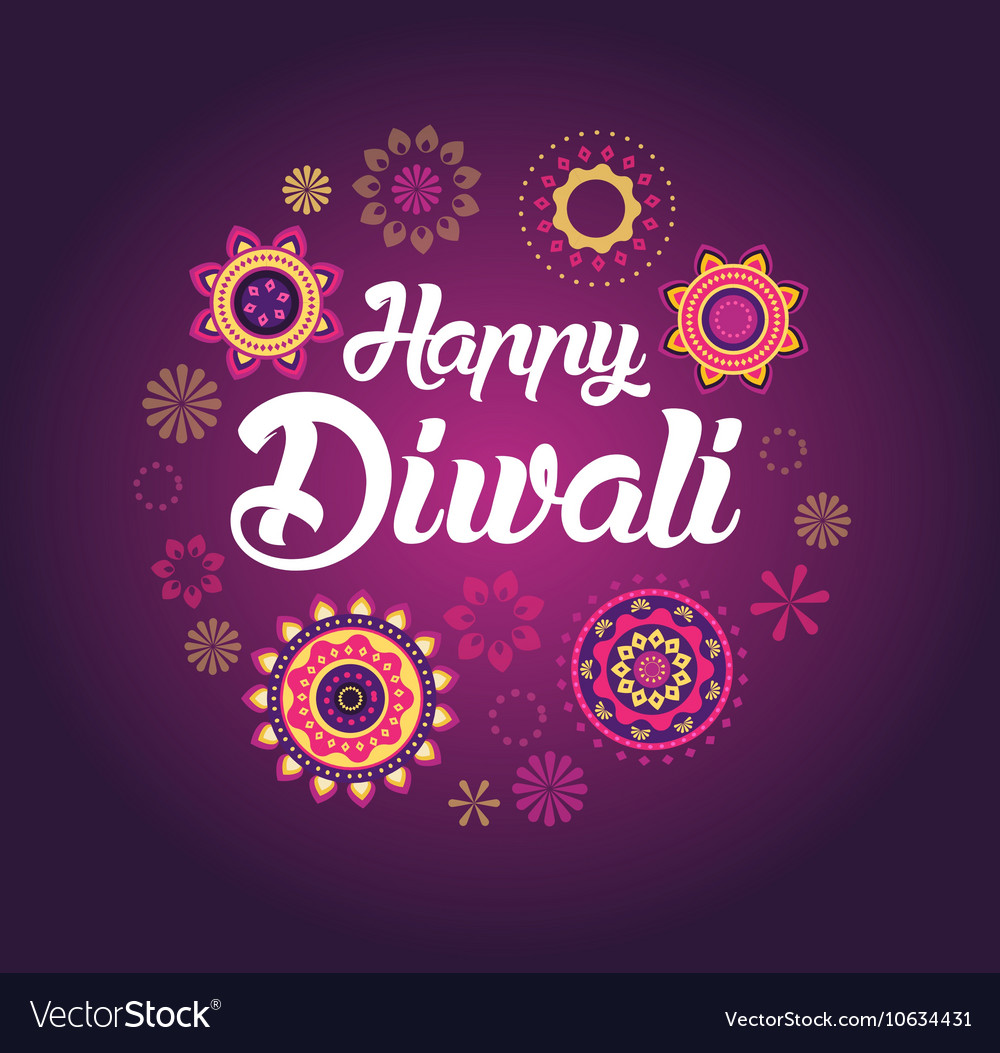 Happy diwali greeting card for indian festival vector image m4hsunfo