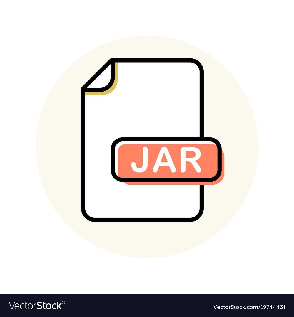 Jar file format extension color line icon Vector Image