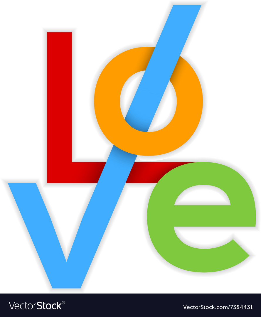 LOVE Colorful Happy Valentines day card 3d