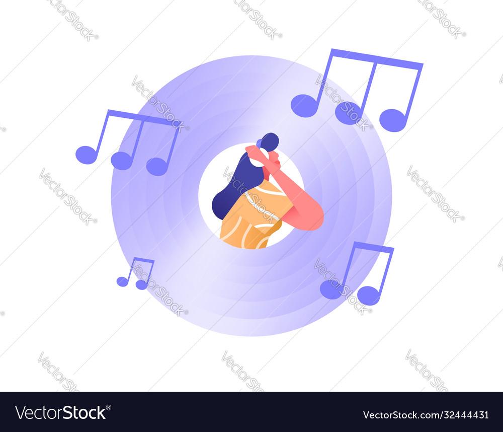 Music cd vinyl icon with woman headphones