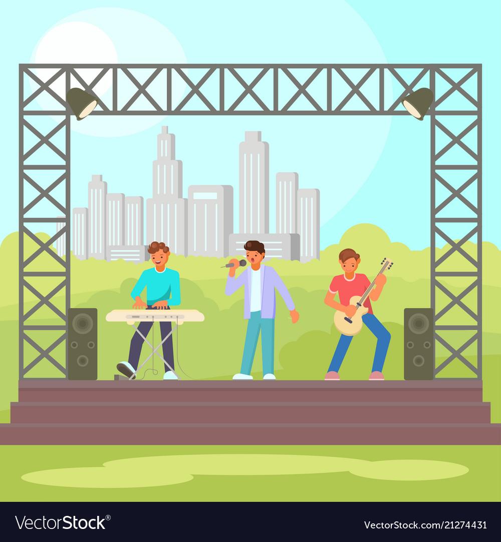 Open-air concert flat vector image