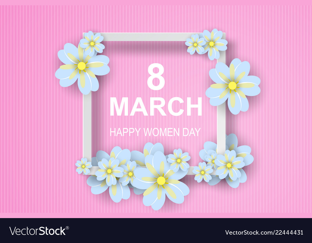 Paper art of 8 march happy womens daygreeting