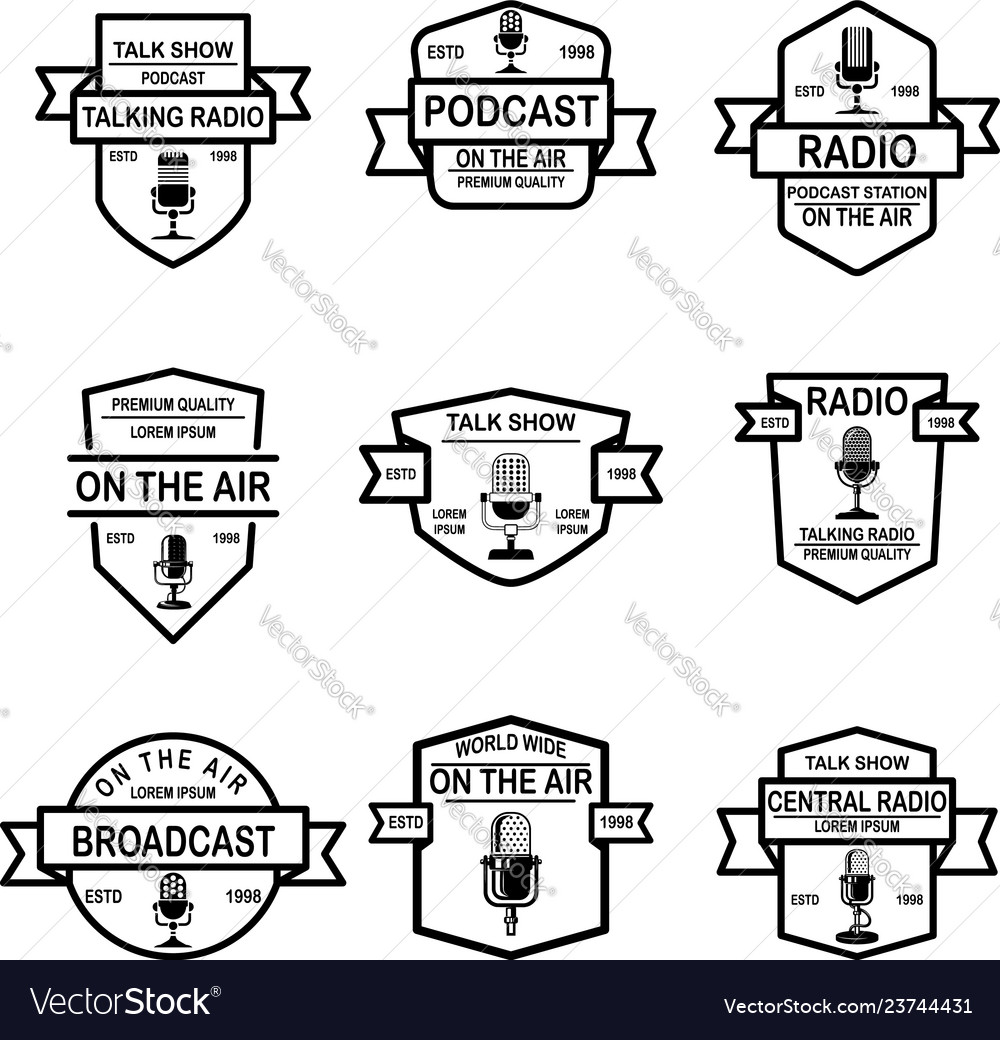 Set of podcast radio emblems with microphone