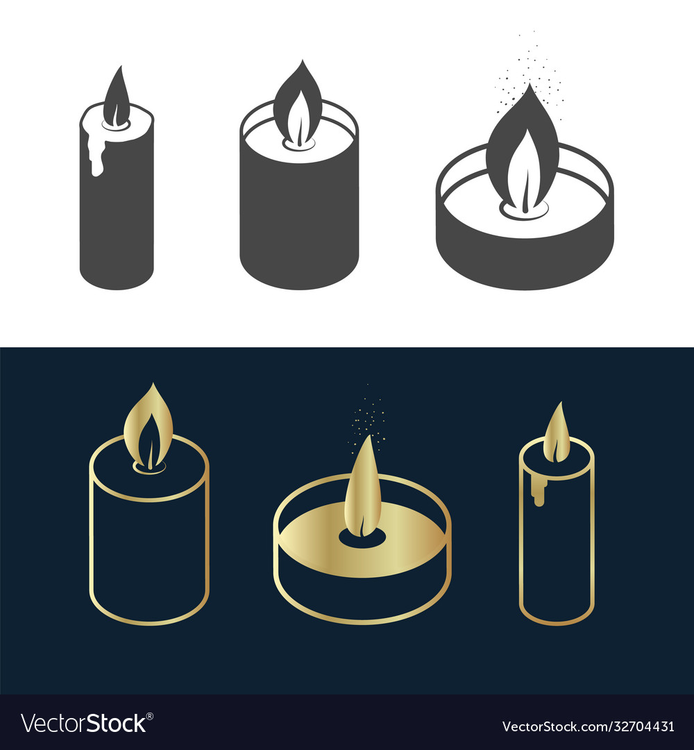 Simple candles icon set gold black and white