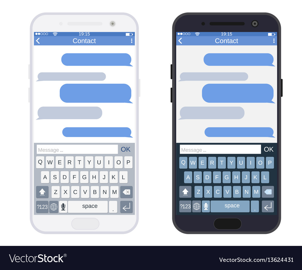 Smartphone with messaging sms app vector image