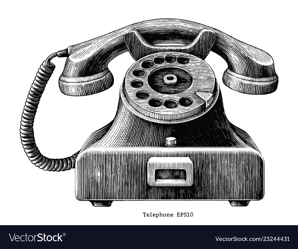 Vintage telephone hand draw clip art isolated on
