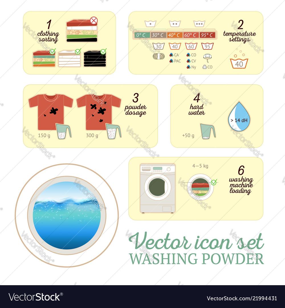 Washing powder icon set