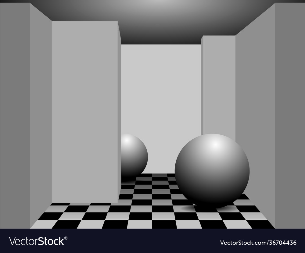 A minimalist photorealistic room in perspective