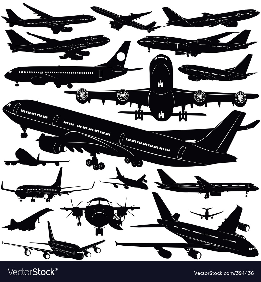 Airplane collection vector image