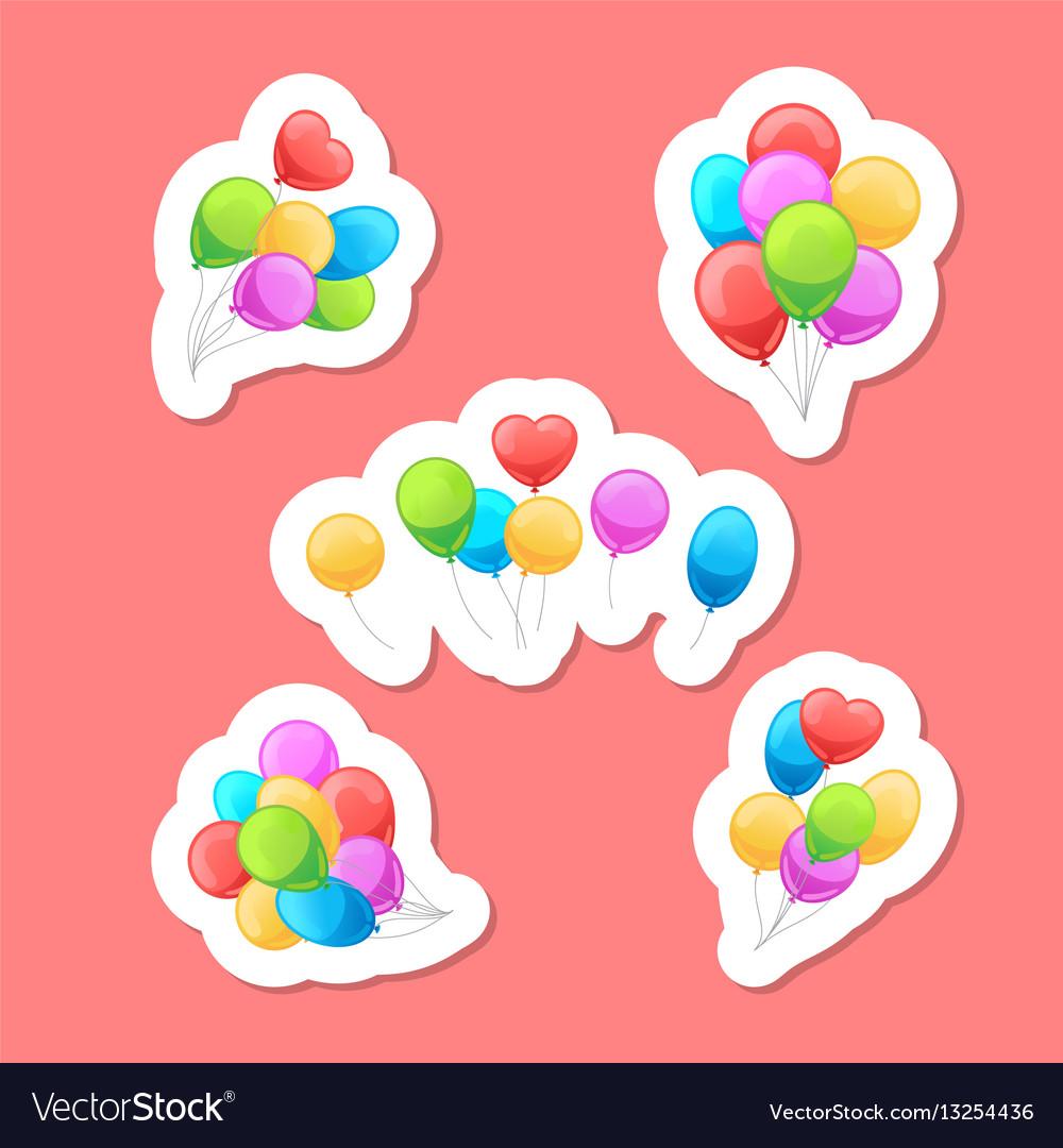 Balloons stickers set