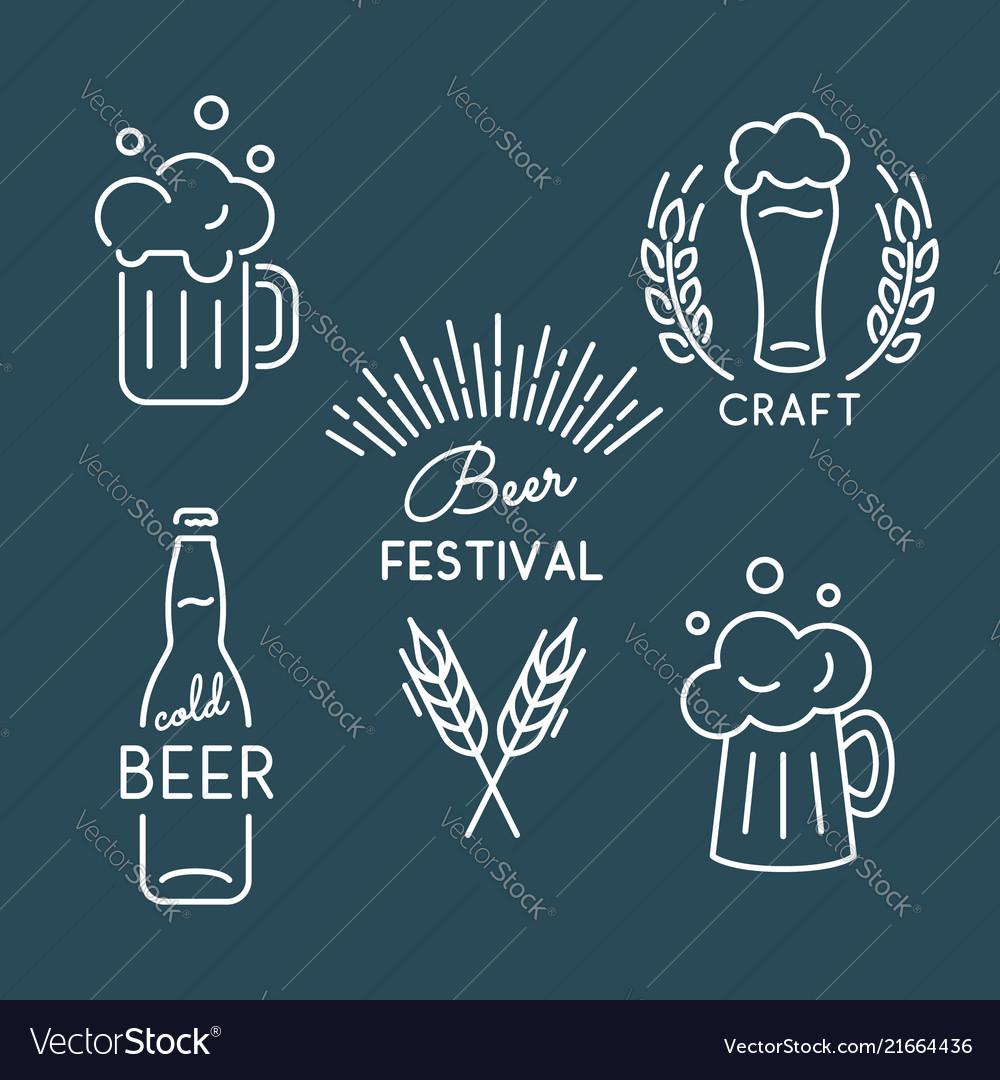 Beer festival oktoberfest set of linear icons