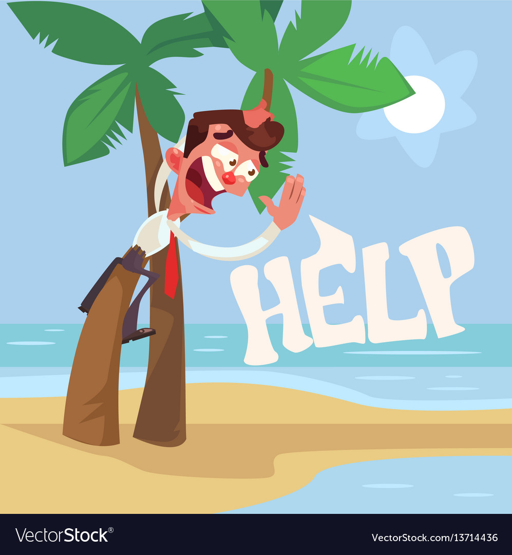 Businessman character lost desert island