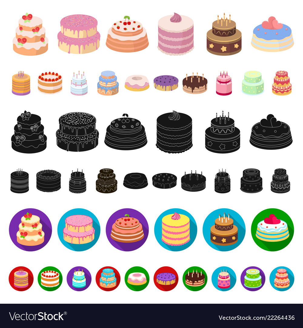 Cake and dessert cartoon icons in set collection