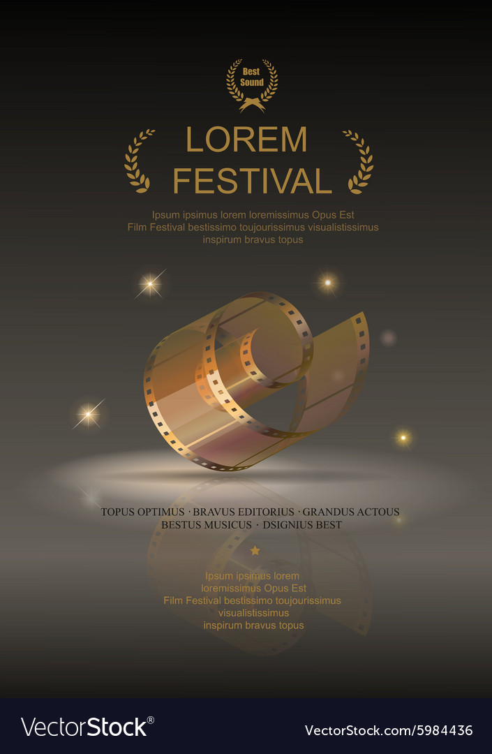 Camera film 35 mm roll gold festival movie poster