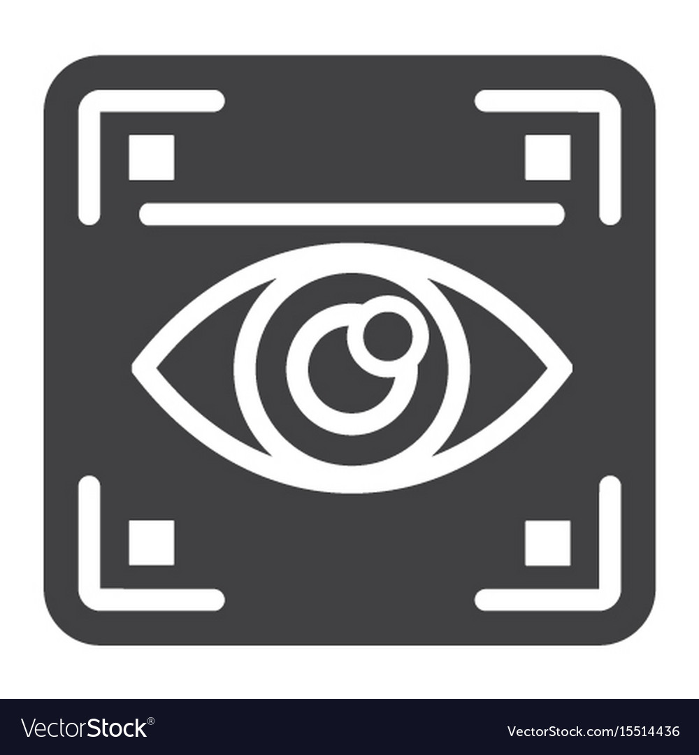 Eye scan solid icon security and iris scanner