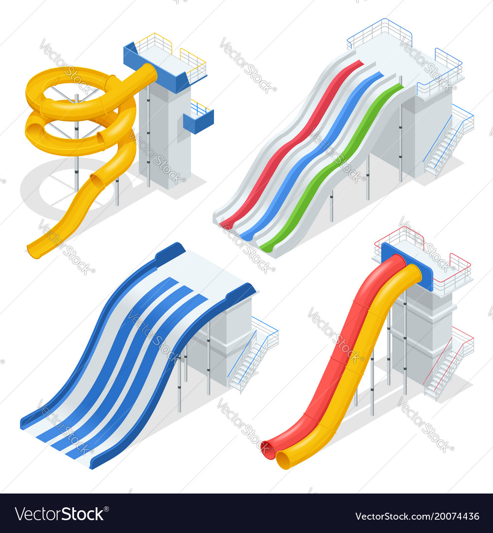 Isometric colorful water slides and tubes