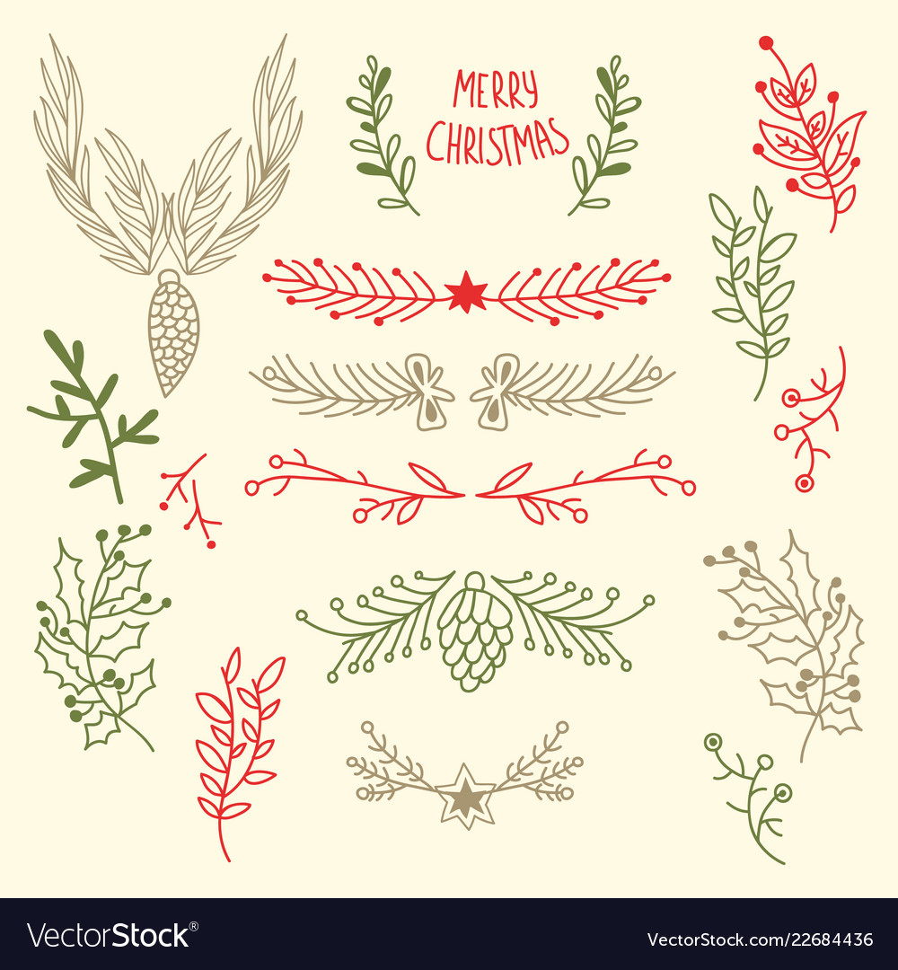 Light merry christmas floral background