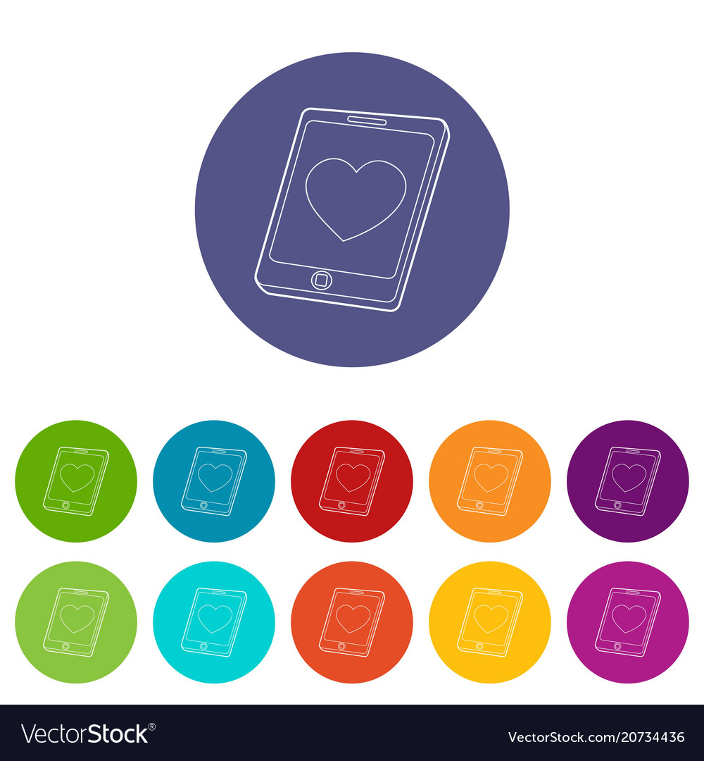 Mobile phone with heart icon outline style