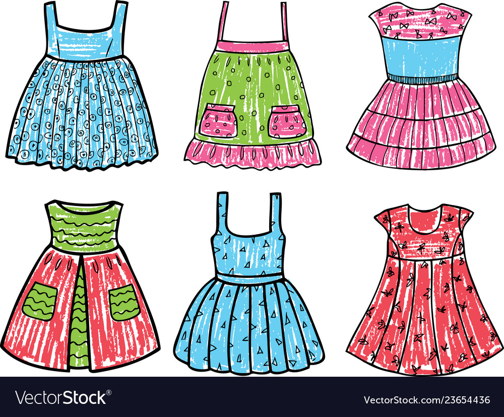 Summer Dresses For A Little Girl Royalty Free Vector Image