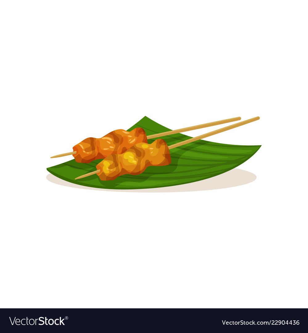 Traditional Malaysian Snacks On Wooden Sticks