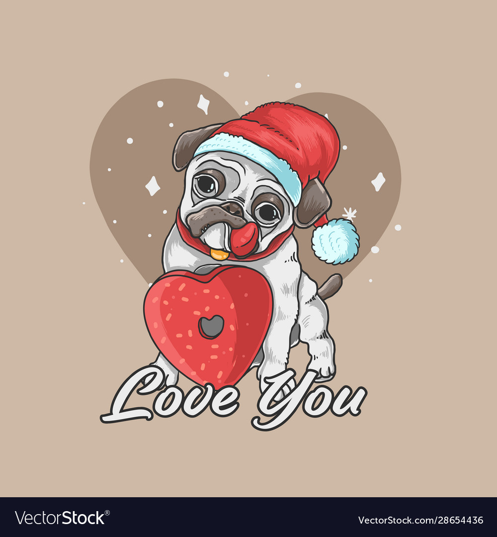 Valentine pug cute dog love background