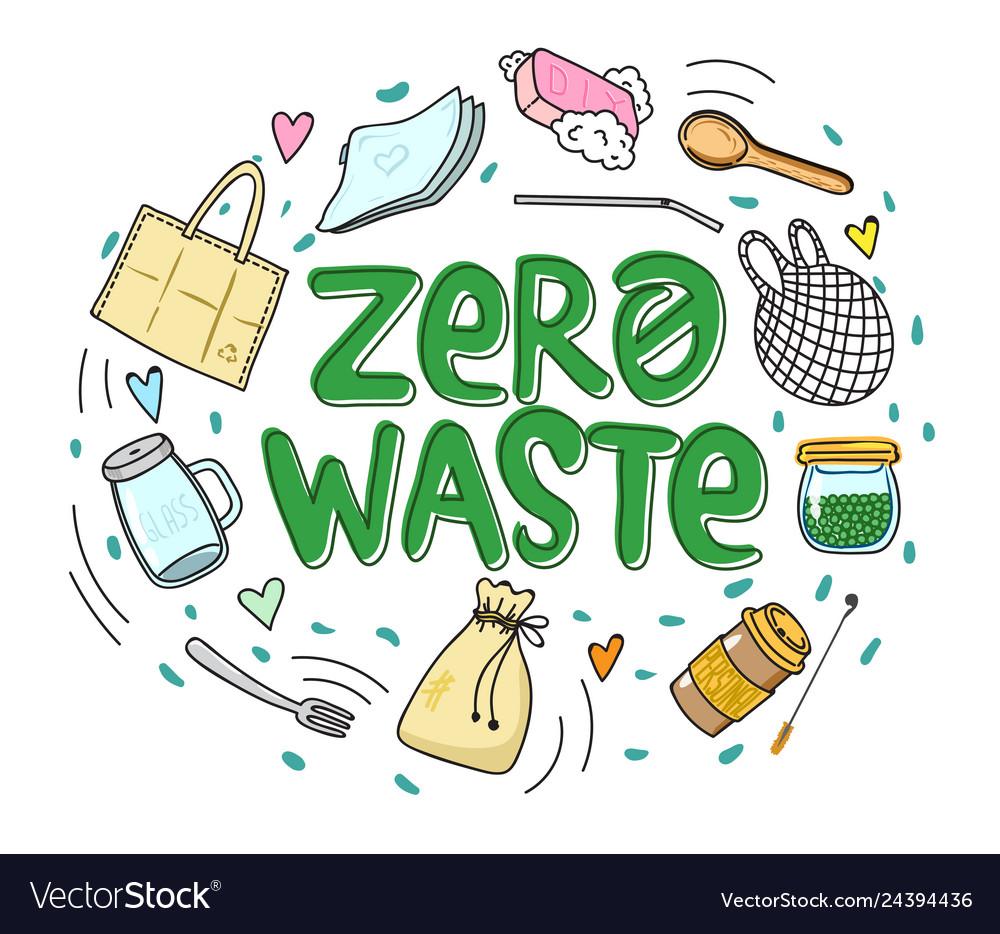 Zero waste hand drawn