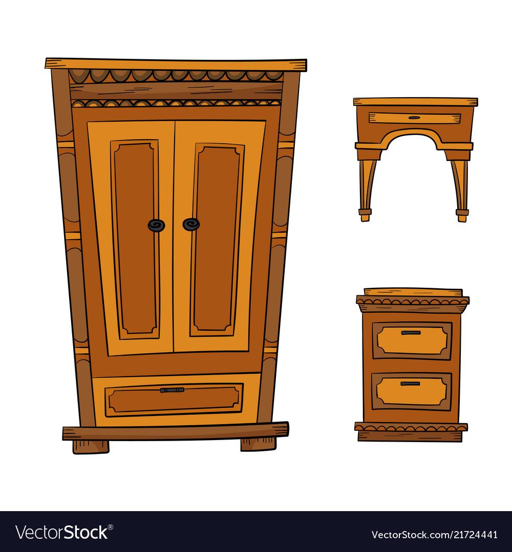 Antique furniture set - closet dresser