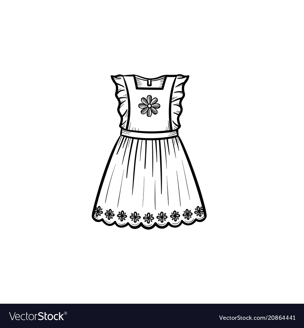 1a361ef2b Baby girl dress hand drawn outline doodle icon Vector Image