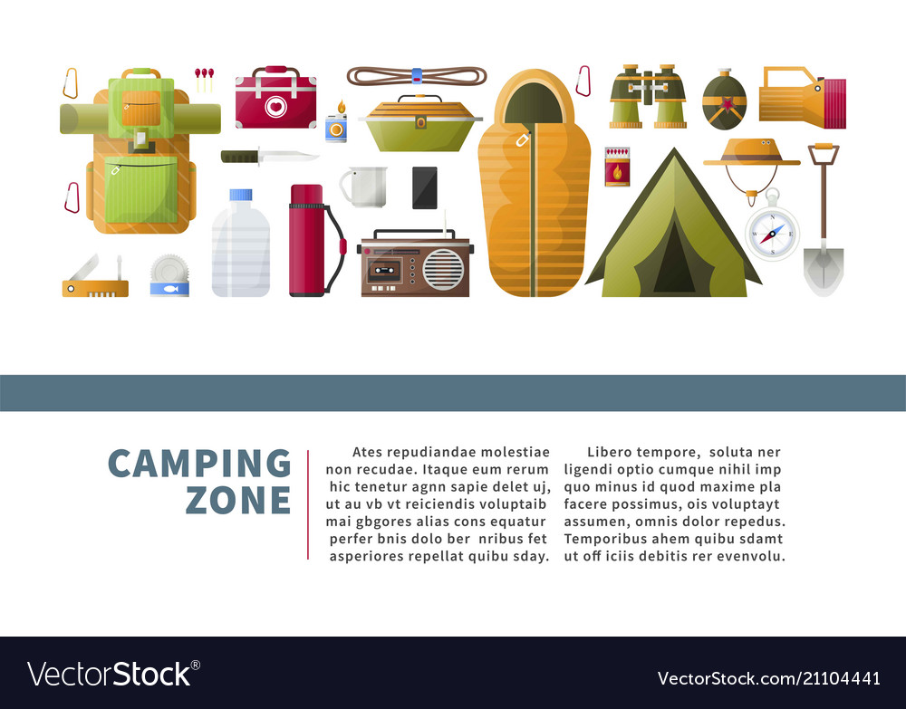 Camping zone promotional poster with hiking
