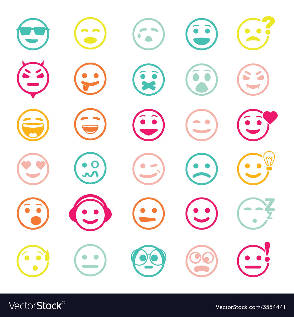 Color set of icons with smiley faces
