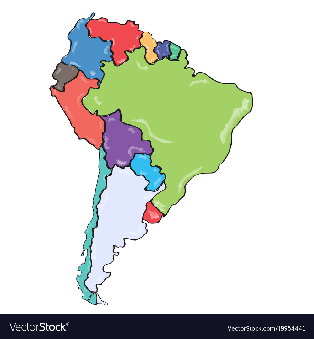 Comic Drawing Of A Political Map Of South America Vector Image