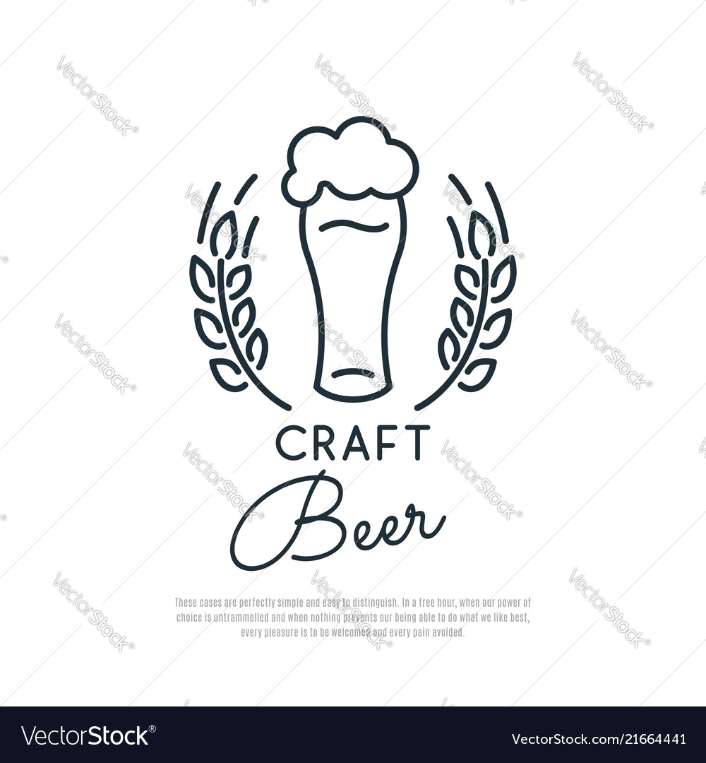 Craft beer icon glass of beer with foam