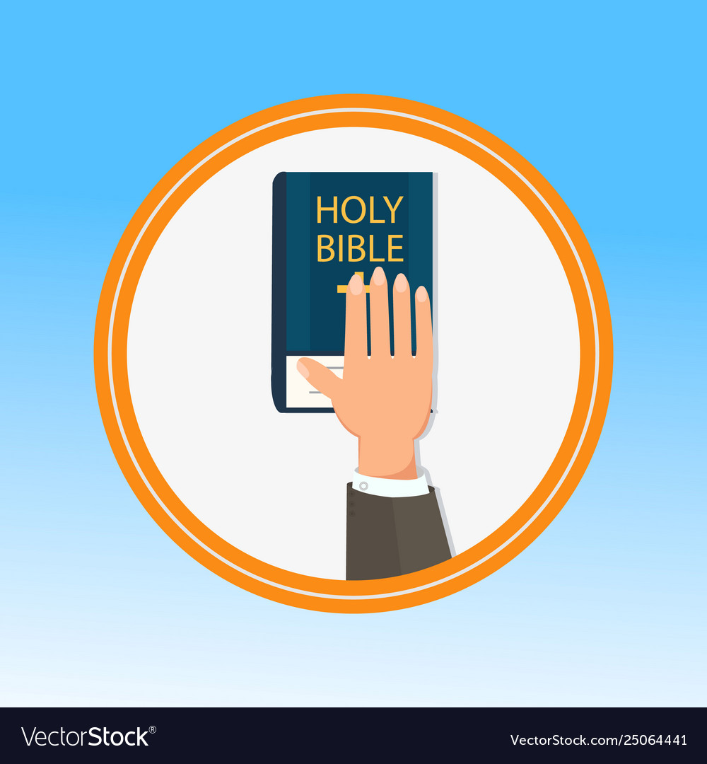 Hand palm on holy bible flat