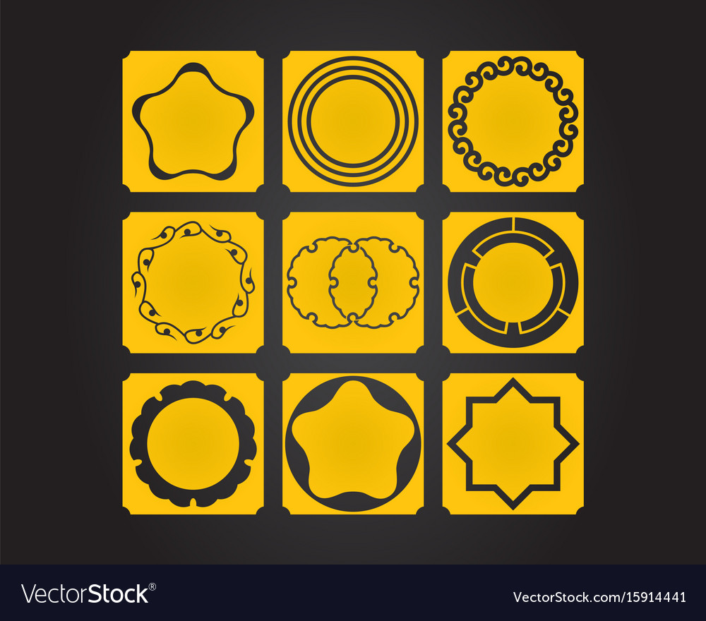 Japanese Culture Symbolic Ornaments Set Royalty Free Vector